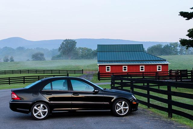 automobile, car, barn